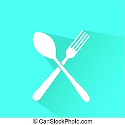 crossed fork and spoon vector icon