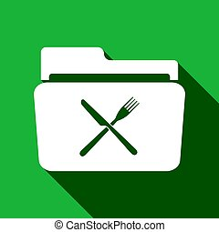 Crossed fork over knife grey folder flat icon with long shadow. Vector Illustration