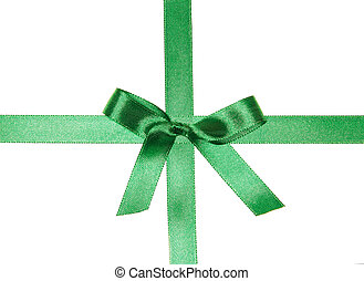Crossed green ribbons with bow