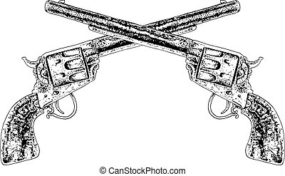 crossed guns black and white illustration