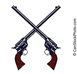 Crossed Guns - Two long barel six guns crossed set on a...