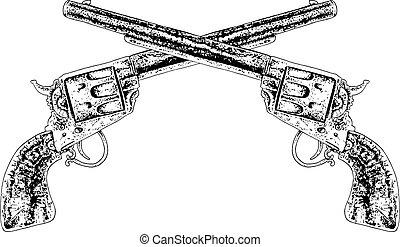 crossed guns black and white illustration