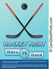 crossed hockey stick and puck ice hockey night macy poster ...