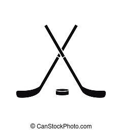 Crossed hockey sticks and puck icon in simple style on a white background vector illustration