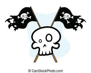 Crossed Jolly Roger Flag with Skull - Drawing Art of Cartoon...