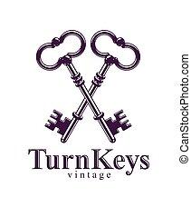 Crossed keys, vintage antique turnkeys vector logo or emblem...