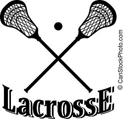 Crossed lacrosse stick and ball.