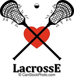 Crossed lacrosse stick, ball