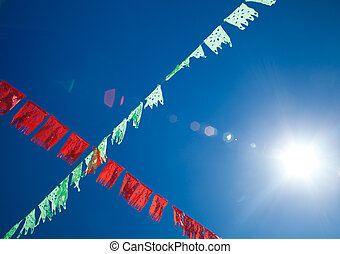 bunting and sun