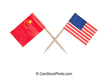 Crossed mini flag USA and China. Isolated on white...