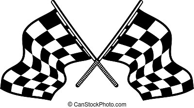 Crossed motor sport flags with their distinctive black and white checkered pattern fluttering in the wind
