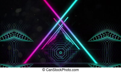 Crossed neon beams against kaleidoscopic shapes moving on black background