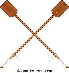 Crossed old oars in brown design