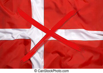 Crossed out flag of Denmark, curfew concept