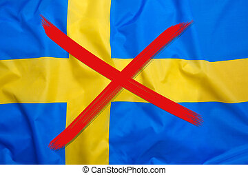 Crossed out flag of Sweden, curfew concept