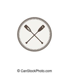 crossed paddles icon patch and sticker. Vintage hand drawn...