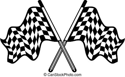 Crossed pair of waving checkered flags - Crossed pair of...