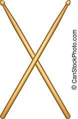 Crossed pair of wooden drumsticks on white background