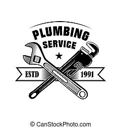 Crossed plumber tools vector illustration. Adjustable spanners and service text with ribbon. Plumbing or job concept for emblems and labels templates