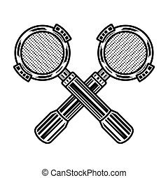 Two crossed portafilters, espresso machine parts vector illustration in monochrome vintage style isolated on white background