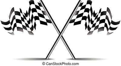 crossed race flag icon vector symbol