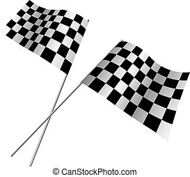 Crossed racing flags.