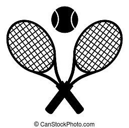 Crossed Racket Black Silhouette