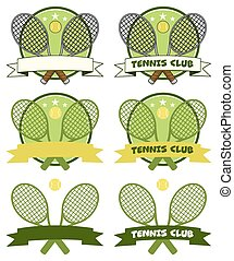 Crossed Racket Labels Collection 1