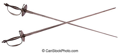 Old crossed rapiers isolated on white background