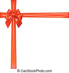 Crossed ribbon with red bow.