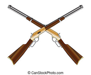 Crossed Rifles - A typical wild west rifle as a crossed pair...