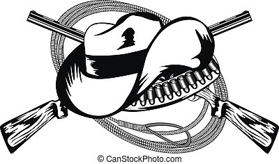 crossed rifles and hat - Vector illustration crossed rifles,...