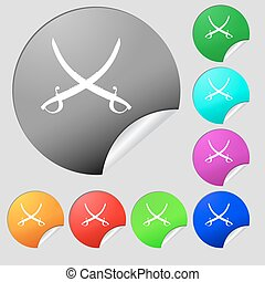 Crossed saber icon sign. Set of eight multi colored round buttons, stickers. Vector
