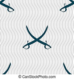 Crossed saber sign. Seamless pattern with geometric texture.