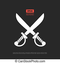 Crossed sabers icon, pirates symbol