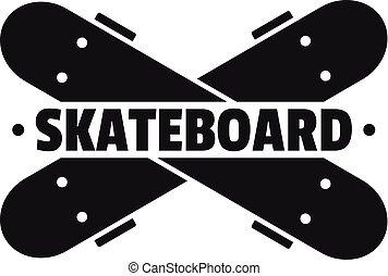 Crossed skateboard logo, simple style