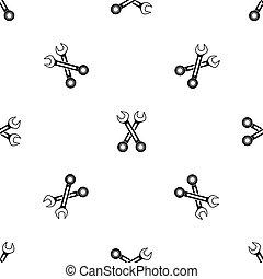 Crossed spanners pattern seamless black