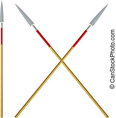 Crossed spears with red ribbon on a shaft