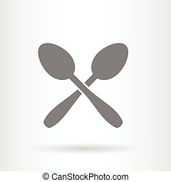 crossed spoons icon flat vector illustration