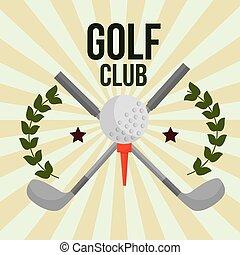 crossed sticks golf club ball on tee emblem vector illustration vector illustration