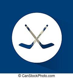 crossed sticks hockey blue background vector illustration eps 10