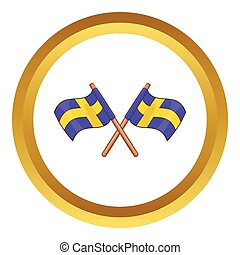 Crossed swedish flags vector icon