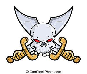 Crossed Sword Skull Tattoo Vector