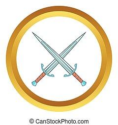 Crossed swords vector icon