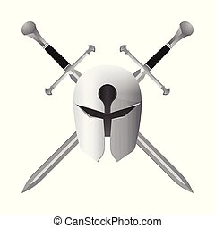 Crossed swords with helmet vector illustration isolated on white background