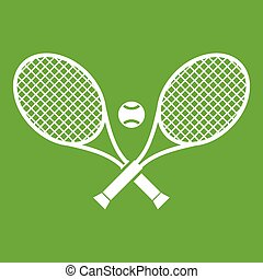 Crossed tennis rackets and ball icon green