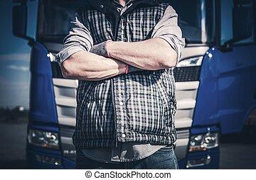 Crossed Truck Driver Hands