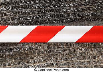 Crossed warning tape - Crossed red white warning tape