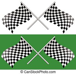 Crossed waving checkered racing flags. editable vector