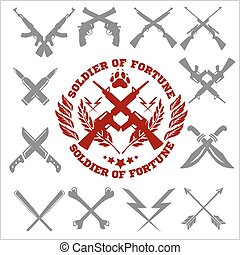 Crossed Weapons Vector Collection in white background -...